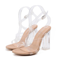 Wholesale Transparent Party Wear Women - 2017 Women Pumps Crystle Shoes Celebrity Wearing Simple Style PVC Clear Transparent Strappy Buckle Sandals High Heels Gladiator