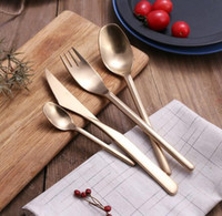 Wholesale Bronze Forks - 4 piece set High quality drawing process stainless steel dinnerware Sets fork and spoon set silver black bronze wedding cutlery set