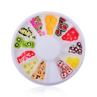 Wholesale Nail Clay Wheels - Wholesale- 2016 New 3D Polymer Clay Fruit Slices Wheel Nail Art Decoration Diy Design Wheel Nail Art Decorations Rhinestones nail jewelry
