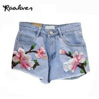 Wholesale Denim Floral - Raodaren Floral embroidery denim shorts Women light blue flower Embroidered shorts Casual jeans short pants 2017 Summer Shorts Femme