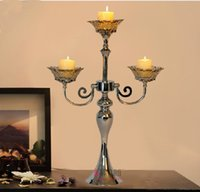 Wholesale Glass Candle Plates Wholesale - European silver plated metal+ glass 3-light candle stand candle holder glass candlesticks for home decoration