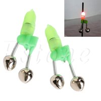 Wholesale alarms tips - Wholesale- 5pcs Night Fishing Rod Tip Red LED Light Twin Bells Ring Fish Bait Alarm