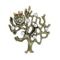 Unisex owl lapel pins - Lucky Vintage Owl Metal Tree Brooch Antique Style Forest Style Mori Girl Lapel Pin Blouse Collar Accessory