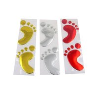 Wholesale Decals For Vehicles - (100 pairs lot) Wholesale 3d Footprint feet Funny Creative stickers decals for car wall vehicle Car Styling
