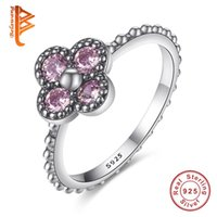 Wholesale Silver Ring 925 Clover - BELAWANG 925 Sterling Silver Clover Finger Ring with Dazzling Pink Cubic Zircon for Women Luxury Wedding Jewelry Accessories Lucky Gift