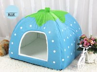 Wholesale Dog Kennel Wood - 2017 New Pet House Foldable Soft Warm Leopard Print And Strawberry Cave Cat Dog Bed Cute Kennel Nest Dog Fleece Cat Tent Bed Free Shipping