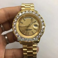 Super Clone Brand Luxo Luxo Dia-Data Big Diamond Bezel Gold Dial Asian 2813 Automático 18K Gold Mens Watch Steel Bracelet Relógios de esporte