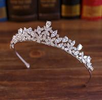 Wholesale Tiara Novia - Full Cz Tiara Bride Cubic Zircon Crown Diadema Wedding Hair Accessories Jewelry Bijoux Tiaras Crowns Coroa De Novia Wigo 1028