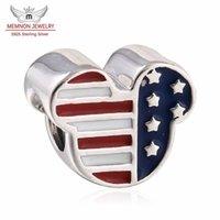charme hat uns gemacht großhandel-Memnon Jewery 925 Sterling Silber Perlen Mickey USA Flags Emaille Charm Beads für Frauen Berühmte Armbänder DIY Schmuck machen Großhandel DSN034