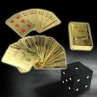 Wholesale Table Games Durable Waterproof Plastic Playing Cards Gold Foil Poker Golden Poker K Gold Foil Plated Playing Cards Deck Gift