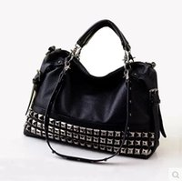 Wholesale Studded Leather Shoulder - 2017 Ladies Handbag Studded Rivet women's genuine leather handbag autumn and winter soft shoulder handbag big
