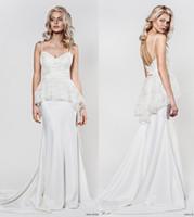 column wedding dress peplum prices - peplum sheath sequin lace bodice wedding dresses 2017 aida kapociute bridal sleeveless spaghetti straps chaple train