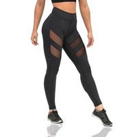 Wholesale High Waist Mesh Leggings - Sexy Women Breathable Yoga Leggings Mesh Splicing Yoga Pants High Waist Run Tights Workout Fitness Jogging Leggings
