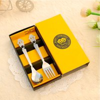 Wholesale Stainless Steel Flatware Box Set - ortable Stainless Steel Happy smile Fork Spoon 2 Piece Set Dinnerware Sets Outdoor Tableware Camping Flatware Gift Boxes Christmas Halloween