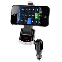 Wholesale Car Kit Holder - Wholesale-Bluetooth FM Transmitter Car Kit phone Holder with USB charger MP3 Player with LED Screen Remote control