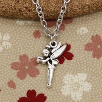 Wholesale Tinkerbell Pendants - New Fashion Tibetan Silver pendant angel fairy tinkerbell 25*15mm Necklace, Round chain DIY Hand made Necklace Jewelry