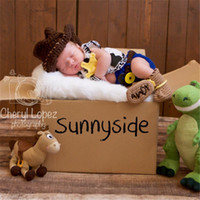 Wholesale Cute Dolls Photos - Baby Cowboy Shape Photography Props Cute Newborn Boy and Girl Crochet Outfit Infant Photo Props Doll Accessories Baby Hat BP081