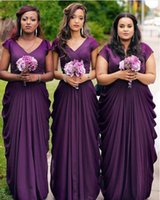 Wholesale Modest Junior Formal Dresses - 2017 Purple Chiffon Modest Bridesmaid Dresses With Cap Sleeves Arabic Formal Maids of Honor Gowns Dubai Wedding Party Gowns