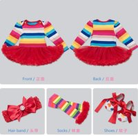 Wholesale Rainbow Long Sleeve Dresses - 2017 new 2 styles Hot sell infant girl Summer Rainbow and love heart style long sleeve romper dress High-quality 100%Cotton 0-3T