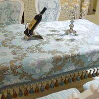 Wholesale Crochet Models - European style luxury table cloth,Jacquard blue tablecloth,Upscale Silver tassel cloth,other size can be customized,two models