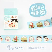 Vente en gros - 2016 3 cm Large chat's Friends Panda Rabbit Cartoon Washi Ruban adhésif Ruban Bricolage Scrapbooking Sticker Label Masking Craft Tape