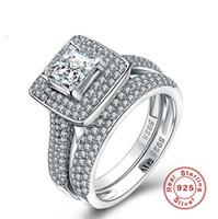 lüks mücevherat takı setleri toptan satış-Boyutu 5-10 Lüks Takı Saf 100% 925 Ayar Gümüş Prenses Kesim Beyaz Safir Taşlar CZ Elmas Kadınlar Düğün Çift Yüzük Seti Hediye