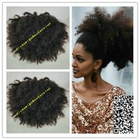 Wholesale Curly Kinky Hair Beautiful - Beautiful Black Kinky Curly Ponytail Hairpieces Clip in Virgin Hair Drawstring ponytail Hair Extension Natural Afro puff 140g