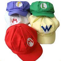 Wholesale Mario Hat Cartoon - DHL 2017 New Adult Cartoon Super Mario Hats Cosplay Fashion Costume Baseball Hats Caps Sneaker Hip Hop Berets Hat GD-H01