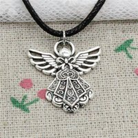 Wholesale Make Jewlery - 15pcs New Fashion Antique Silver Charms guardian angel 26*23mm Pendant Necklace Black Leather Cord Hand made Jewlery Necklace