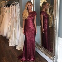 Wholesale Trumpet Silhouette Dress - Sparkly 2017 New Design Burgundy Sequined Dresses Evening Wear Mermaid Silhouette Crew Neck Capped Sleeves Low Cut Back Formal Evening Gowns