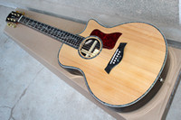 Wholesale acoustic factory - Wholesale- Factory custom 41'' 20 frets 916 cutaway body natural wood color acoustic guitar with solid top,golden tuners,can be customized
