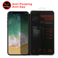 Wholesale Cover Guards - For Iphone 8 Plus iPhone X Privacy Tempered Glass Screen Protector LCD Anti-Spy Film Screen Guard Cover Shield with Retail Package