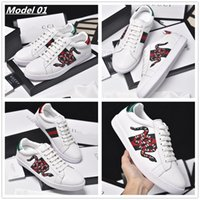 Wholesale Mens Pumps Shoes - 2017 Fall Newest Quality Mens Fashion Genuine Leather Animal Snake Embroidery Luxury Breathable Low Top Slip On Loafers Sneakers Shoes