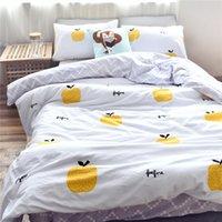 Wholesale Apple Duvet - Fresh Style Apple Printed 100% Cotton Twin Queen Size Bedding Set Duvet Cover Set