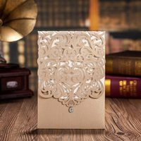 Wholesale Classic Wedding Invitation Cards New - Vertical Gold Classic Style Engagement Wedding Invitations Cards Custom With Rhinestone & Laser Cut Flower,CW5010