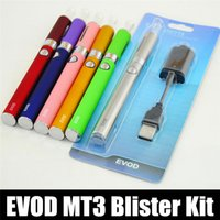 Wholesale E Cigarette Gold Clearomizer - Evod MT3 blister kit E-cigarette kit mt3 tanks e cigarette EVOD atomizer Clearomizer Evod battery ego cigarette kit electronic cigarettes
