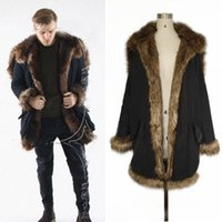 Wholesale Hunting Outwear - Men's Fur-Trim Long Parka Coat Black Hooded Long Sleeve Cashmere Blend Long Jacket Fashion Warm Skiing Hunting Outwear YBF0923