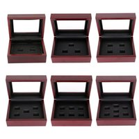 Wholesale Championship Boxing - Wooden Box Championship Ring Display Case Wooden Boxs Ring 2 3 4 5 6 7 Holes To Choose Rings Boxe
