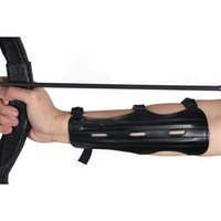 Wholesale Archery Guard - Guaranteed PU Leather Black 22cm Archery Arm Guard 3 Adjustable Strap Arm Protection with 3 Rods Bow and Arrow Accessories