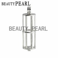 Wholesale Floating Cylinder - 5 Pieces Cylinder Cage Gift Pendant Love Wish Pearl 925 Sterling Silver Floating Pearl Cylindrical Cage Pendant