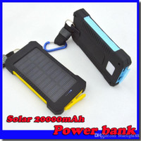 Wholesale External Battery Iphone Solar - 20000mAh universal 2 USB Port Solar Power Bank Charger External Backup Battery With Retail Box For iPhone Samsung cellpPhone charger