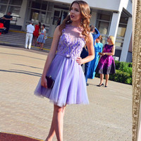 Wholesale cute cocktail - Cute Lavender Tulle Short Homecoming Dresses Bateau Sheer Neck Sleeveless Knee Length Custom Short Prom Dresses Cocktail Party Dresses
