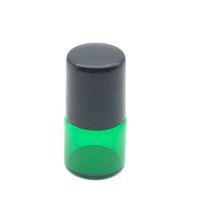 Wholesale Green Glass Essential Oil Bottle - Free Shipping 1ml Metal Roller Green Glass Bottle Roller on Mini Perfume Sample Empty Bottle Essential Oil Bottle
