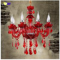 Wholesale 12 Arm Chandelier - European Style K9 Red Crystal Chandelier Cafe Restaurant Bar Lamp Coffee Diffuse Crystal Chandelier Candle LED Lamps 6 8 12 Arms