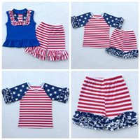 Wholesale Top American Wholesalers - summer 4th of july set baby girls american flag fourth july outfits infant ruffle sleeve tops tshirt + ruffle shorts pants kids clothes 2017