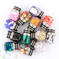 Wholesale polished stones wholesale - 13 Colors 510 Turquoise Drip Tip Beautiful Tophus Stone Drip Tips Double Rings Polishing for RDA RBA Atomizers DHL Free
