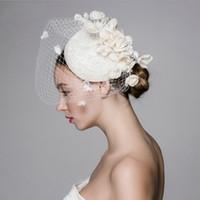 flor nupcial sombrero velo al por mayor-Hermosa Vintage Francia Birdcage Flor nupcial Flores hechas a mano Fascinator Novia Boda Sombreros Velos en la cara Moda de mujer