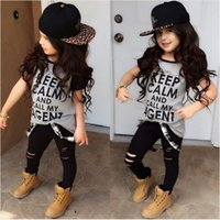 Wholesale Stylish Boys Clothes - Wholesale- T-shirt Tops Pants Casual Stylish Kids Baby Girls Clothes Sets 2pcs Dark Gray Belt Hole Cotton 2016 Outfit Set Girl Age 2-7Y