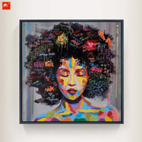 Canvas painting street art - wall art New Graffiti Street Wall Art Abstract Modern African Women Portrait Canvas Oil Painting On Prints For Living Room