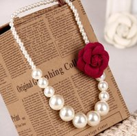 Wholesale Pearl Necklace Brooch - girls Pearls Necklace 3D flower brooch princess jewelry Princess Dress accessories children jewelry kids gifts C1362
